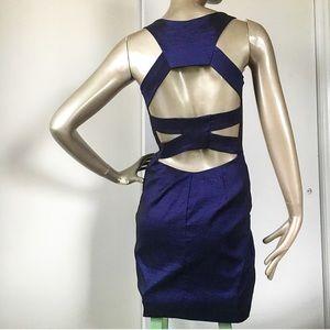 Caché Back Cut-out Mini Cocktail Dress